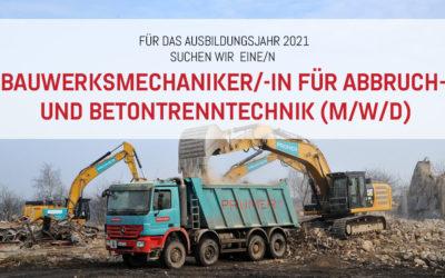 Auszubildende/r: Bauwerksmechaniker/-in  für Abbruch- und Betontrenntechnik (m/w/d)